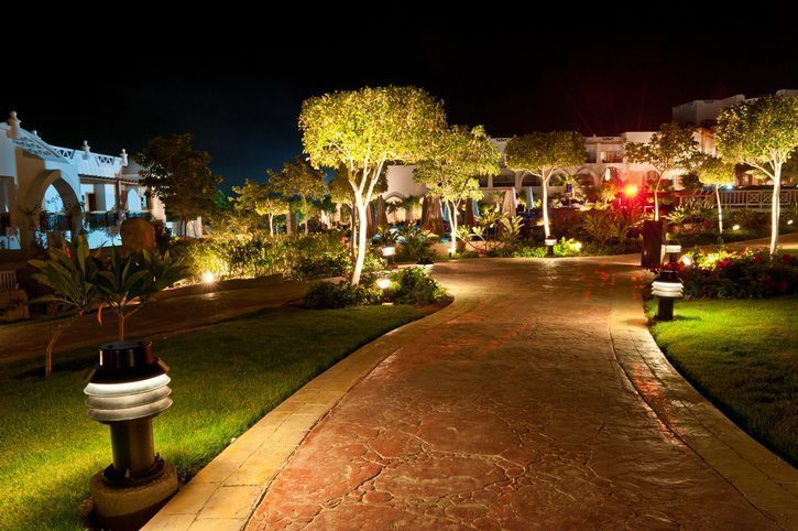 Lit Walking Path - Commercial Landscaping