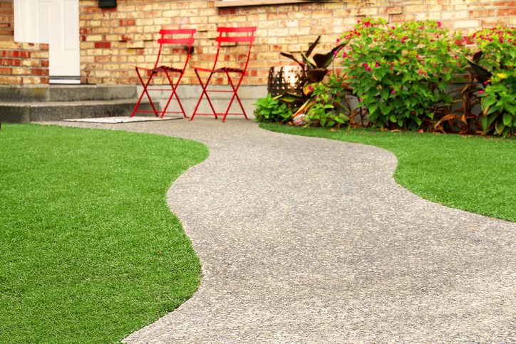 Walkway with Artificial Grass